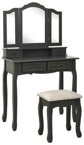 289321 vidaXL Set masă de toaletă cu taburet gri 80x69x141 cm lemn paulownia