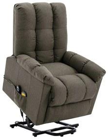 321398 vidaXL Fotoliu de masaj rabatabil vertical, gri taupe, material textil