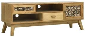 285768 vidaXL Comodă TV cu model sculptat, maro, 120 x 30 x 42 cm, lemn