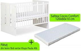 Klups - Patut fara sertar Paula Alb + saltea 10 Mykids confort II