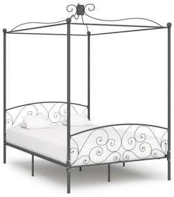 284483 vidaXL Cadru de pat cu baldachin, gri, 140 x 200 cm, metal