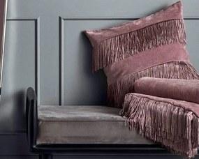 Perna din Catifea cu Franjuri - Catifea Roz Dimensiune (48 x 48 cm)