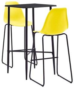 279929 vidaXL Set mobilier de bar, 3 piese, galben, plastic