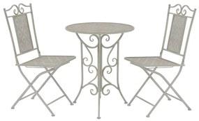 43153 vidaXL Set mobilier bistro, 3 piese, gri, oțel