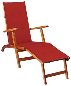 3064020 vidaXL Șezlong exterior, suport picioare și pernă, lemn masiv acacia