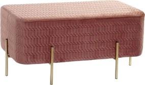 Bancheta Corai cu picioare aurii si tapiterie geometrica 91x42 cm