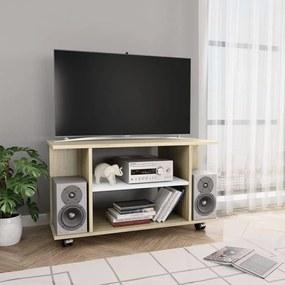 800194 vidaXL Comodă TV cu rotile, alb și stejar Sonoma, 80 x 40 x 40 cm, PAL