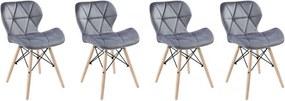 Set de scaune din catifea MOON LIGHT 3 + 1GRATIS!