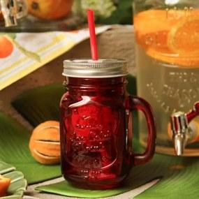 Cana din sticla rosie pentru limonada 14 cm