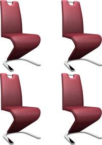 279447 vidaXL Scaune de bucătărie în zigzag, 4 buc, roșu vin, piele ecologică