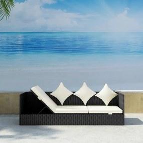 Canapea de exterior cu saltea și perne, poliratan negru
