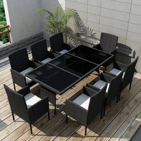 Set mobilier de exterior 17 piese, poliratan, negru