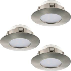 Spot incastrat PINEDA, 95816, LED, 3X6W, Ø 78, 3X500 Lumeni, 3000 K (Calda), Plastic / Nichel satinat