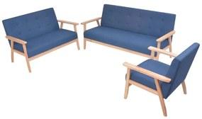 274915 vidaXL Set cu canapele, 3 piese, material textil, albastru