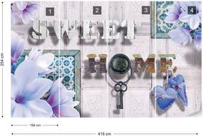 Fototapet GLIX - Sweet Home Flowers Vintage Blue + adeziv GRATUIT Tapet nețesute - 416x254 cm