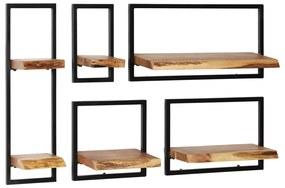 Set rafturi de perete 5 piese, lemn masiv de acacia și oțel