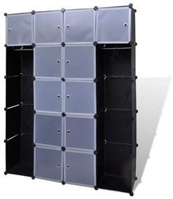 240499 vidaXL Dulap modular 14 compartimente alb și negru 37 x 146 x 180,5 cm