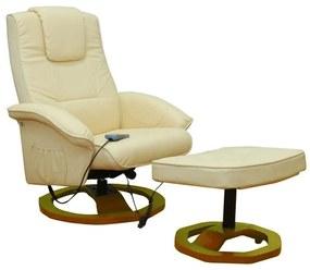 60276 vidaXL Fotoliu de masaj cu taburet, crem, piele ecologică
