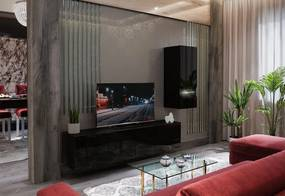 Expedo Mobilă sufragerie ELPASO 15 + LED, negru/negru luciu