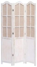284219 vidaXL Paravan de cameră cu 3 panouri, alb, 105 x 165 cm, textil