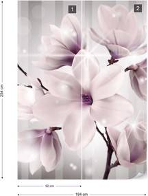Fototapet GLIX - Magnolia Flowers Sparkles 2 + adeziv GRATUIT Papírová tapeta  - 184x254 cm