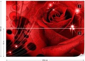 Fototapet GLIX - Red Rose Sparkles + adeziv GRATUIT Tapet nețesute - 254x184 cm