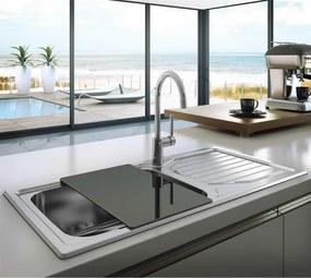 Chiuveta bucatarie inox CookingAid OKIO LINE 103 PL reversibila stanga/dreapta cu picurator + accesorii montaj