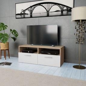 244869 vidaXL Comodă TV, PAL, 95 x 35 x 36 cm, culoarea stejarului și alb