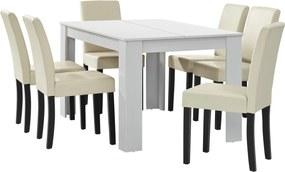 [en.casa]® Masa eleganta Cleo 2 - MDF furniruit, alb, 140 x 90 cm - cu 6 scaune imitataie de piele, crem, cu picioare negre