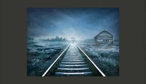 Fototapet Bimago - The ghost train + Adeziv gratuit 350x270 cm