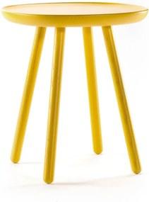 Măsuță auxiliară din lemn masiv EMKO Naïve, ø 45 cm, galben