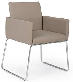 Scaun cu picioare din crom argintiu si tapiterie piele ecologica bej Sixty 60 cm x 54 cm x 80.5 h x 48 h1 x 65 h2