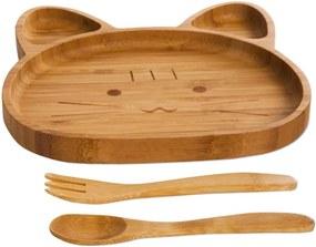 Set pentru copii cu platou și tacâmuri din lemn Bambum Cat