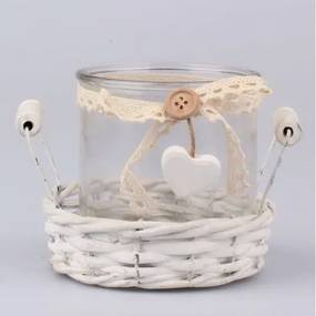 Suport din sticlă pentru lumânare și coș din ratan Dakls Romantico