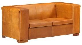 325116 vidaXL Canapea cu 2 locuri, cafeniu roșiatic, piele naturală