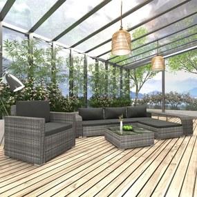 46824 vidaXL Set mobilier de grădină cu perne, 8 piese, gri, poliratan