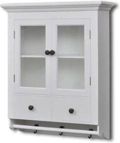 Dulap de perete pentru bucătărie, cu ușă din sticlă, lemn, alb