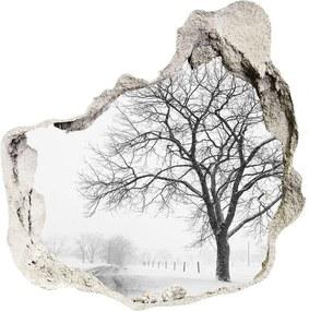 Fototapet 3D gaură în perete Copac în timpul iernii