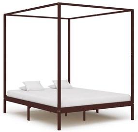 283273 vidaXL Cadru pat cu baldachin, maro închis, 180x200cm, lemn masiv pin