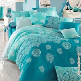 Lenjerie de pat cu cearșaf pentru pat dublu Simay, 200 x 220 cm, turcoaz