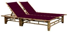 3063954 vidaXL Șezlong de 2 persoane, cu perne, bambus