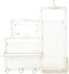 Etajera suspendabila din fier alb antichizat 54 cm x 20 cm x 63 h