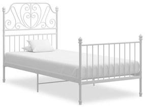 324845 vidaXL Cadru de pat, alb, 100x200 cm, metal și placaj