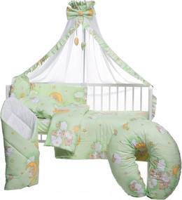 Lenjerie patut cu 10 piese Ursuletul somnoros Verde