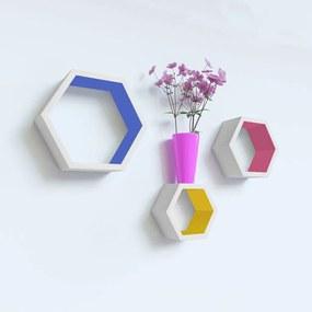 Set 3 rafturi perete Hexagon, MDF
