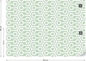 Fototapet GLIX - Green Geometric Retro Pattern + adeziv GRATUIT Tapet nețesute - 254x184 cm