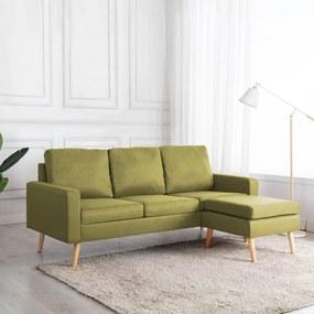 288728 vidaXL Canapea cu 3 locuri și taburet, verde, material textil