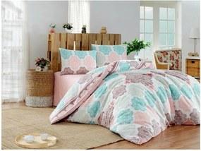 Lenjerie de pat cu cearșaf pentru pat dublu Andalucia Turquoise, 200 x 220 cm