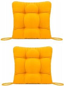 Set Perne decorative pentru scaun de bucatarie sau terasa, dimensiuni 40x40cm, culoare Galben, 2 bucati/set