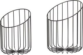 Set 2 Cosuri Metalice - Metal Negru Dia 23x Inaltime 32 cm Dia 26 cm x 37 cm